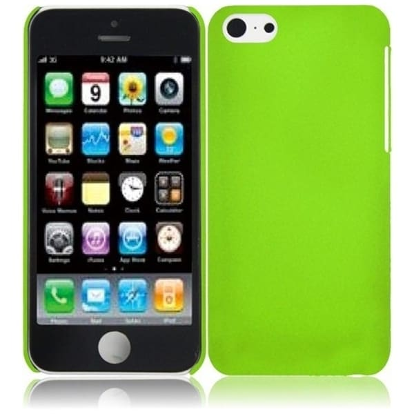 INSTEN Green Rubberized Hard Plastic Snap-on Phone Case Cover for Apple iPhone 5C