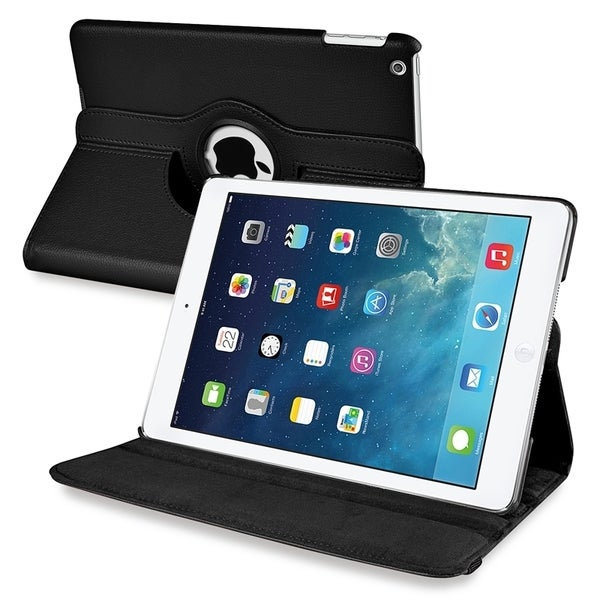 INSTEN Black 360-degree Swivel Stand Leather Tablet Case Cover for Apple iPad Air