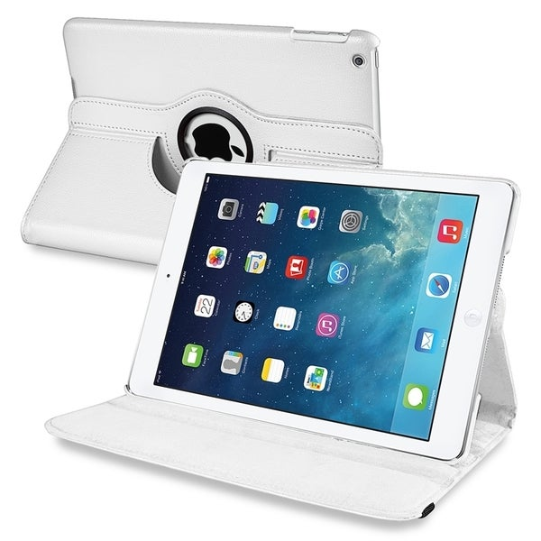 INSTEN White 360-degree Swivel Stand Leather Tablet Case Cover for Apple iPad Air