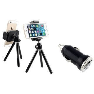 INSTEN Black Tripod Phone Holder/ Mini Car Charger Adapter