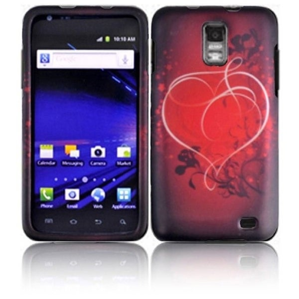 INSTEN Red/ Black Heart On Stars Rubberized Hard Plastic Snap-on Phone Case Cover for Samsung Galaxy S2 Skyrocket