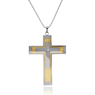 Vance Co. Men's Titanium Cubic Zirconia Cross Pendant