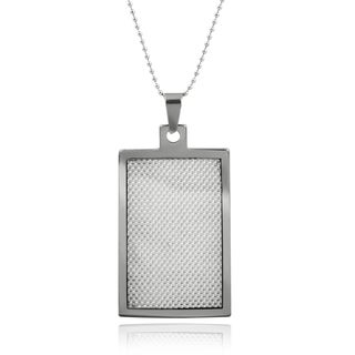 Vance Co. Men's Tungsten Grey Fiber Inlay Dog Tag Pendant