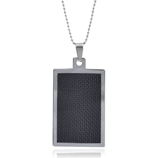 Vance Co. Men's Tungsten Black Fiber Inlay Dog Tag Pendant