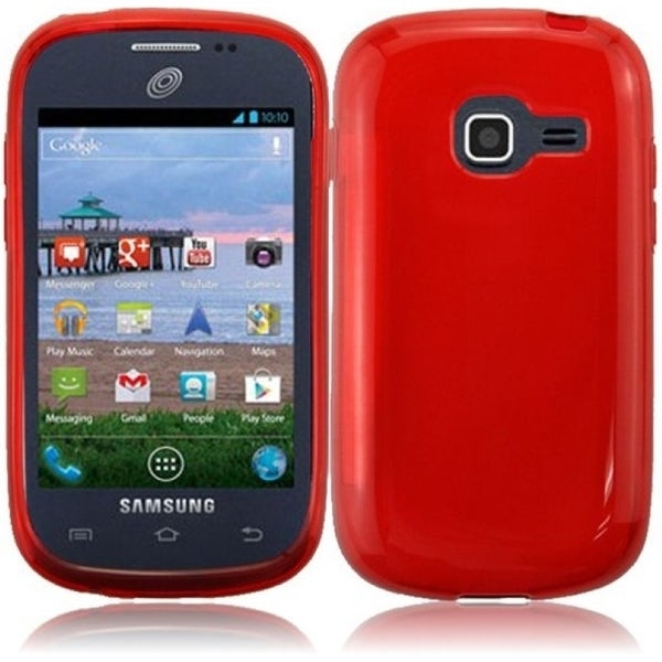 INSTEN Red Frosted TPU Rubber Candy Skin Phone Case Cover for Samsung Galaxy Centura/ Discover