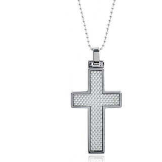 Vance Co. Men's Tungsten Grey Fiber Inlay Cross Pendant