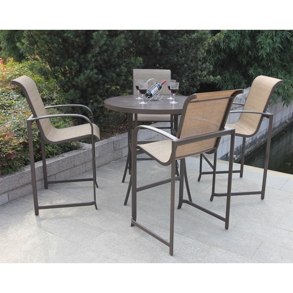 Wellington 5 piece high outdoor dining set free shipping for Outdoor furniture wellington