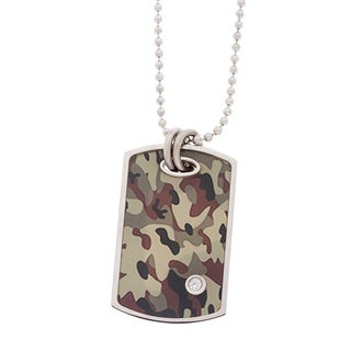 Stainless Steel .025 TDW Diamond Accent Camo Dog Tag Pendant