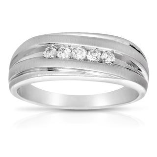 Eloquence 10k White Gold 1/4 TWD Men's Diamond Ring (H-I, I2-I3)