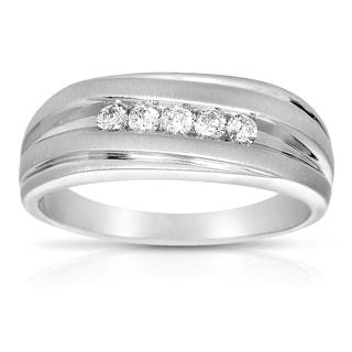 Eloquence 10k White Gold 1/4 TWD Men's Diamond Ring (H-I, I2-I3)