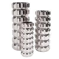 Nickel Textured Cylinder Ceramic Vase Set of 3