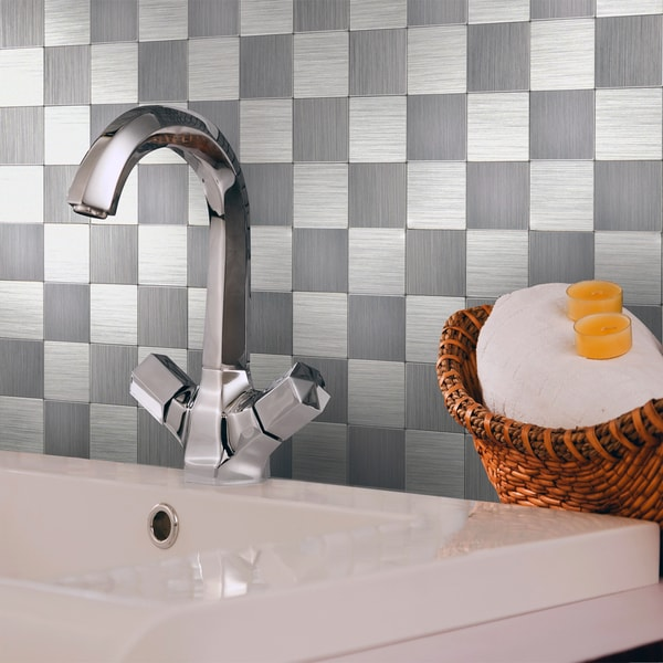 Shop Peel And Stick 1 Foot Silver Mosaic Tile Free