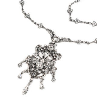 Sweet Romance Vintage French Victorian Antique Silver Crystal Necklace