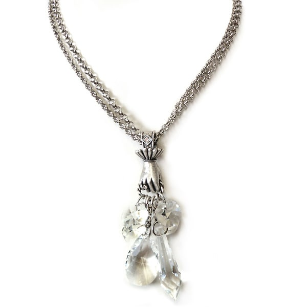 Sweet Romance Renaissance Hand and Swarovski Element Crystal Prisms Necklace