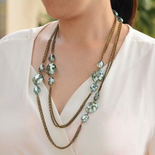 Sweet Romance Long Chain and Crystal Layering Necklace