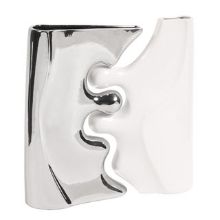 Bright Nickel/ Glossy White Contemporary Ceramic Puzzle Vases (Set of 2)