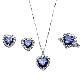 Sterling Essentials Silver Purple Cubic Zirconia Jewelry Set