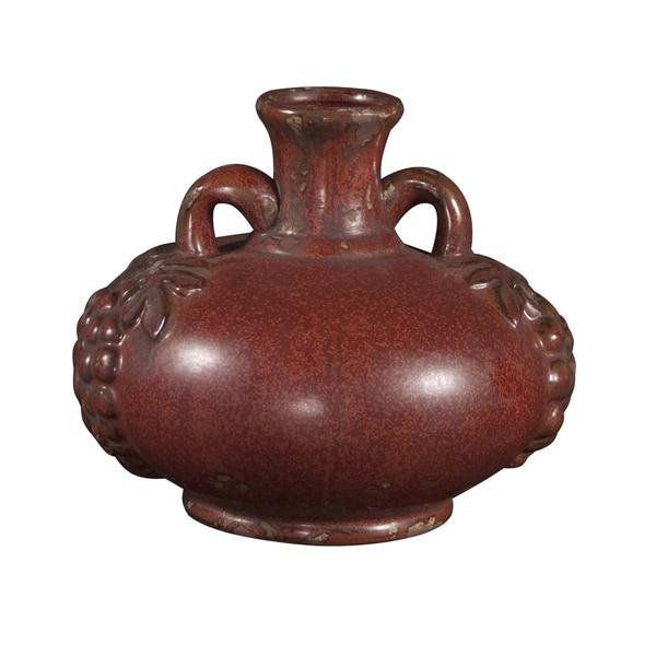 Aged Red Glaze Ceramic Urn