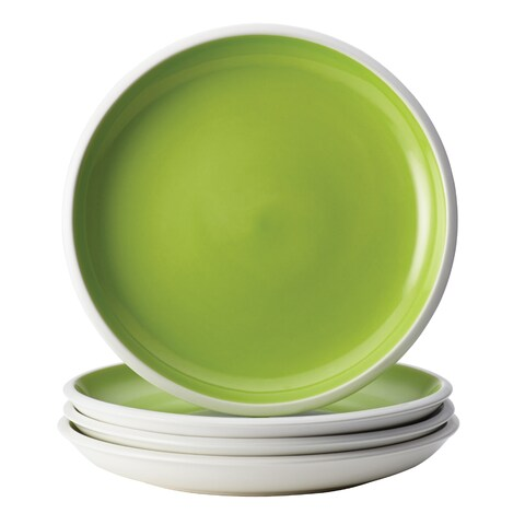 Rachael Ray Dinnerware Rise Green 4-Piece Stoneware Salad Plate Set