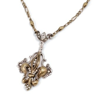 Sweet Romance French Fleu De Lis Pearl Silver And Bronze Necklace
