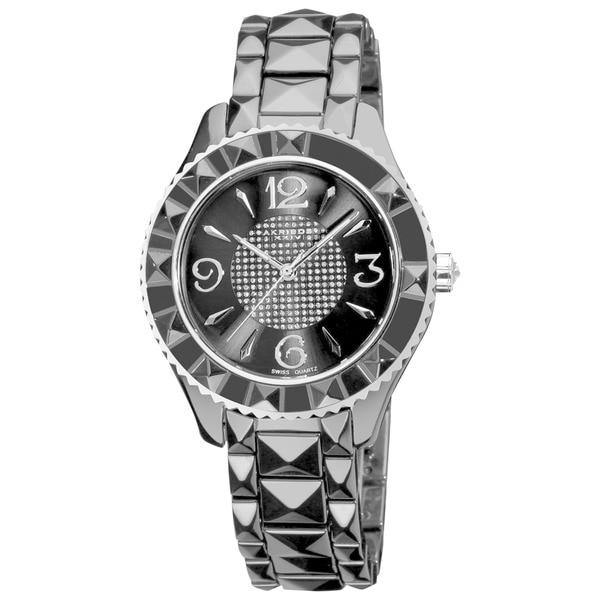 Akribos XXIV Women's Ceramic Pyramid Cut Swiss Quartz Black Bracelet Watch