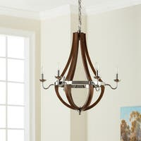Vineyard Wood and Chrome 6-light Chandelier