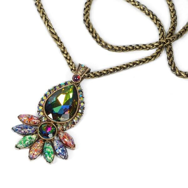 Sweet Romance Vintage Glass Peacock Bohemian Statement Necklace