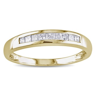 Miadora 14k Yellow Gold 1/4ct TDW Princess Diamond Anniversary Ring (G-H, I1-I2)
