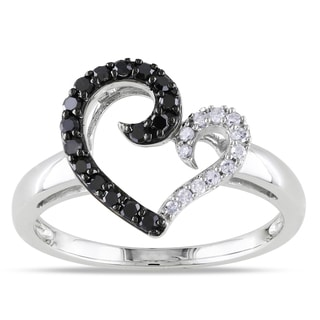Miadora 10k White Gold 1/4ct TDW Black and White Diamond Heart Ring (H-I, I2-13)