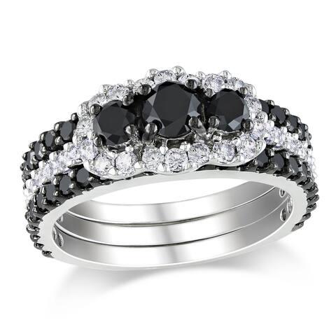 Miadora Signature Collection 14k Gold 2ct TDW Black and White Diamond Bridal Set (H-I, I2-I3)