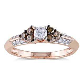 Miadora 14k Rose Gold 1/2ct TDW Brown and White Diamond Ring
