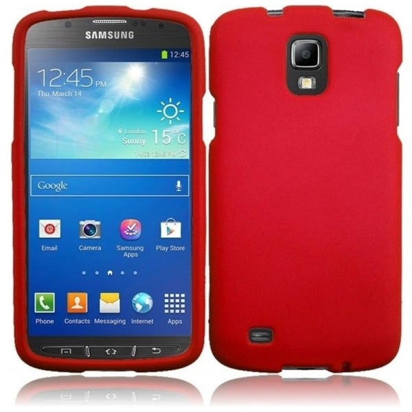 INSTEN Red Rubberized Matte Hard Plastic PC Snap-on Phone Case Cover for Samsung Galaxy S4 Active