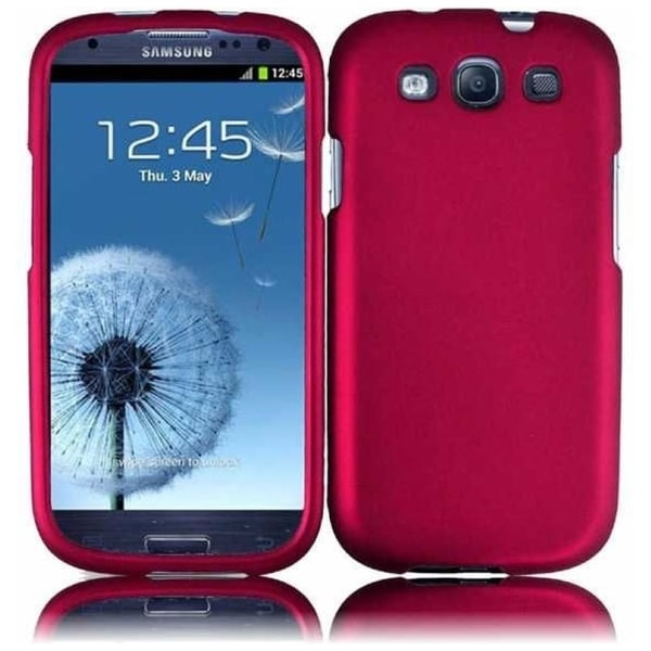 INSTEN Pink Rubberized Matte Hard Plastic PC Snap-on Phone Case Cover for Samsung Galaxy S3/ S III