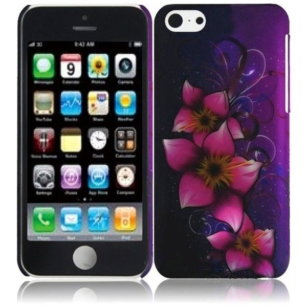 INSTEN Purple/ Pink Mystical Flower Rubberized Hard Plastic Snap-on Phone Case Cover for Apple iPhone 5C
