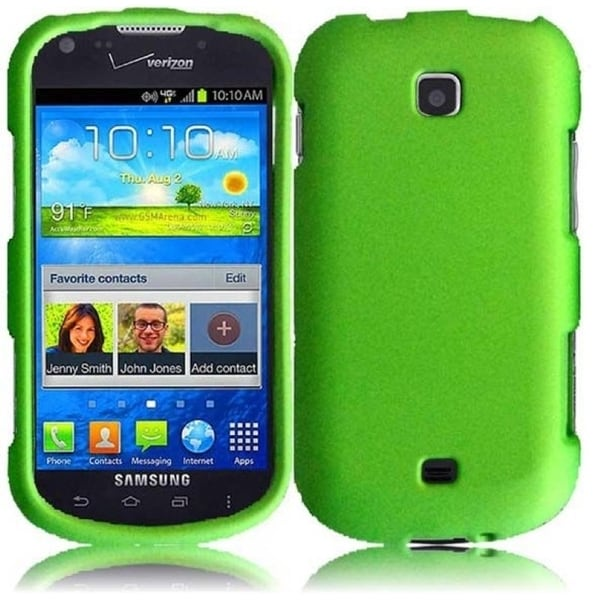 INSTEN Premium Green Rubberized Matte Hard Plastic PC Snap-on Phone Case Cover for Samsung Galaxy Stellar 4G
