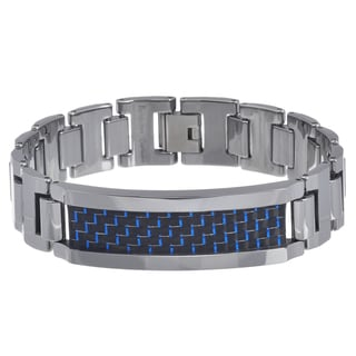 Vance Co. Men's Tungsten Blue and Black Fiber Inlay Link Bracelet