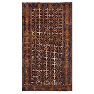 Herat Oriental Afghan Hand-knotted Tribal Balouchi Navy/ Ivory Wool Area Rug (3'5 x 6'3)