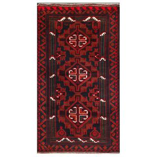 Herat Oriental Afghan Hand-knotted Tribal Balouchi Navy/ Red Wool Area Rug (3'5 x 6')