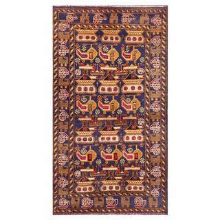 Handmade Herat Oriental Afghan Tribal Wool War Area Rug - 3'2 x 6' (Afghanistan)