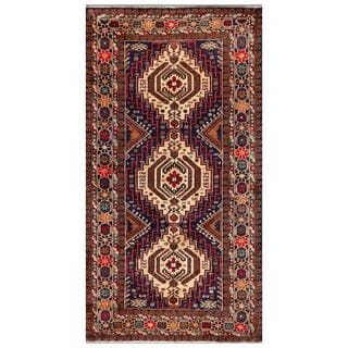 Herat Oriental Afghan Hand-knotted Tribal Balouchi Navy/ Brown Wool Area Rug (3'8 x 6'10)