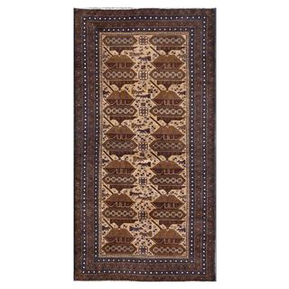Herat Oriental Afghan Hand-knotted Tribal Balouchi Ivory/ Navy Wool Area Rug (3'7 x 6'11)