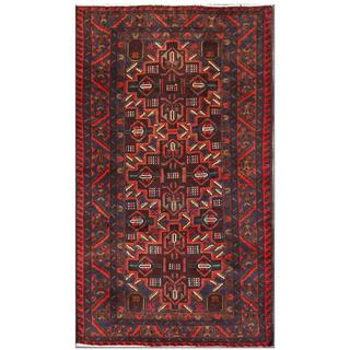 Herat Oriental Afghan Hand-knotted Tribal Balouchi Wool Area Rug (3'7 x 6'3)