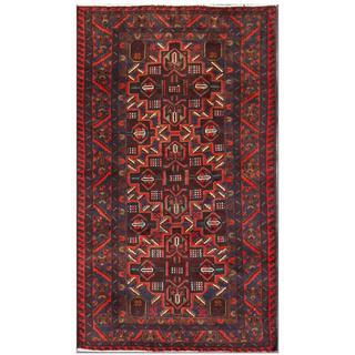 Handmade Herat Oriental Afghan Tribal Balouchi Wool Area Rug - 3'7 x 6'3 (Afghanistan)