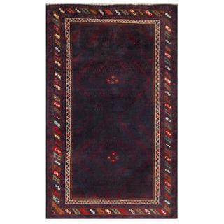 Herat Oriental Afghan Hand-knotted Tribal Balouchi Burgundy/ Navy Wool Area Rug (3'8 x 6'2)