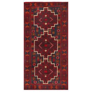 Herat Oriental Afghan Hand-knotted Tribal Balouchi Navy/ Burgundy Wool Area Rug (3'3 x 6'7)