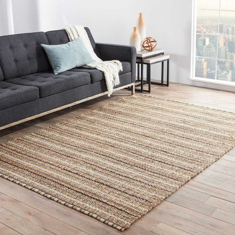 Scully Natural Stripe Gray/ Beige Area Rug (5' X 8') - 5' x 8'