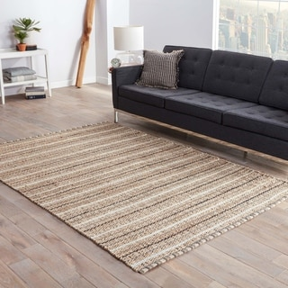 "Scully Natural Stripe Gray/ Beige Area Rug (2'6"" X 4')"