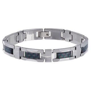 Vance Co. Men's Tungsten Green and Black Fiber Inlay Link Bracelet