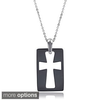 Vance Co. Men's Ceramic Cut-out Cross Pendant