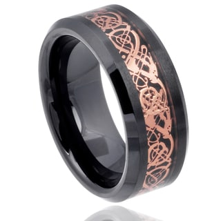 Vance Co. Men's Ceramic Celtic Dragon Inlay Band (8 mm)